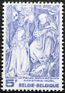 Premier timbre de l'artiste émis pour la fête de Noël de 1976, inspiré du Maître de Flémalle, Robert Campin, peintre primitif flamand, (1378- 1444). P. Huybrechts a reçu pour ce timbre le Grand Prix de la Ville de Bruxelles.